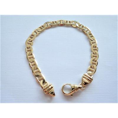 Vintage Bracelet Maille Marine Plate Or 18 Carats