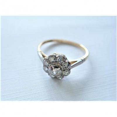 Fin XIXème Bague Marguerite Diamants Or 18 Carats