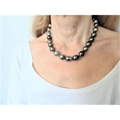 Collier Perles De Tahiti Baroques Fermoir Or Blanc