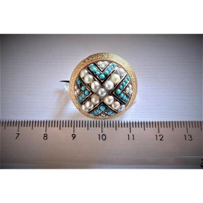 Vintage Broche Perles et Turquoises