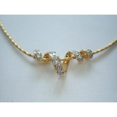 Collier Et Pendentif Diamants Or 18 Carats