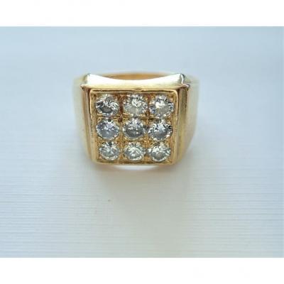 Chevalière Diamants Or 18 Carats