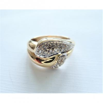 Bague Godrons Sertie De Diamants En Or 18 Carats