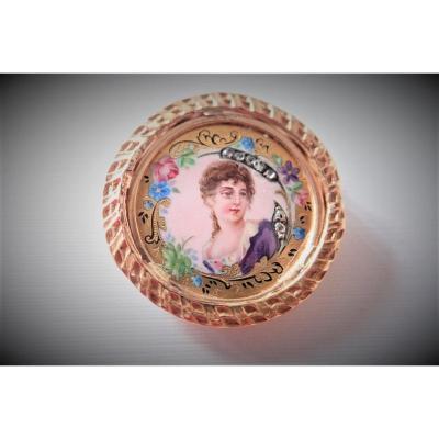 Art Déco Broche Or Miniature Sur Nacre Sertie De Diamants