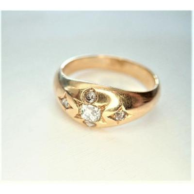 Napoléon III Bague Jonc Sertie de Diamants Or rose 18 Carats