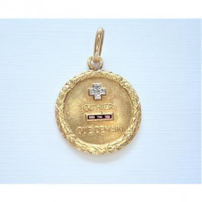 Medal Of Love Augis Diamonds And Rubies 18k Gold