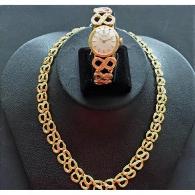 Vintage 18k Gold Watch And Necklace Set