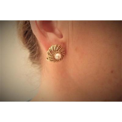 Vintage Pair Of 18k Gold Pearl Earrings