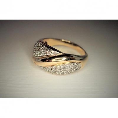 18k Gold Diamond Godrons Ring