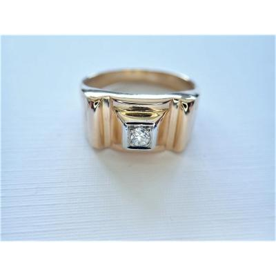 Art Déco 18k Gold Tank Diamond Ring