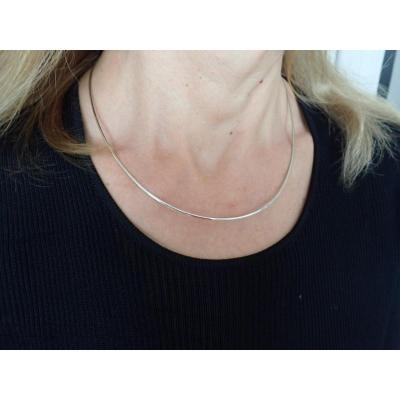 Reversible Omega Mesh Necklace Yellow Gold And 18k White Gold