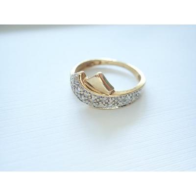 Vintage 18k Gold Diamond Ribbon Ring