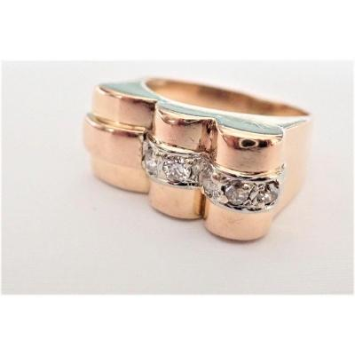 Art Déco Asymmetrical Tank Diamond Ring 18k Rose Gold