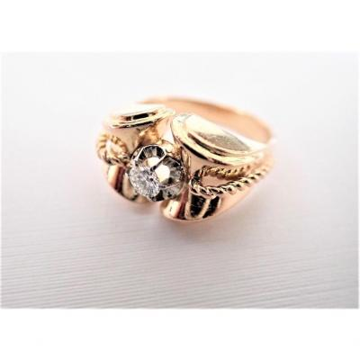 Art Déco 18k Rose Gold And Diamond Tank Ring