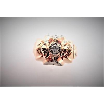 Art Déco 18k Rose Gold Tank Diamond Ring