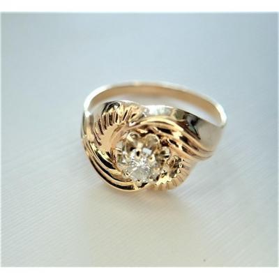 Art Deco Diamond Ring 18k Rose Gold
