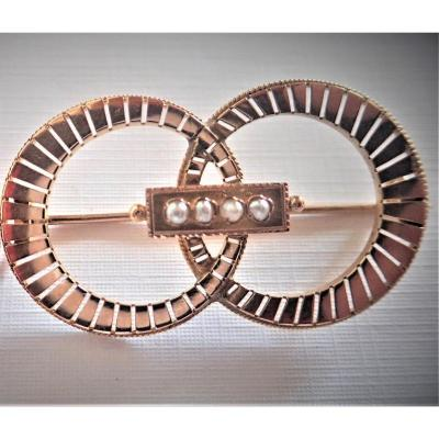 Art Deco Brooch In Rose Gold And Pearls