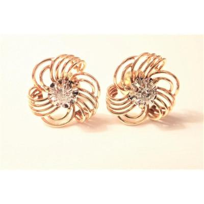 Pair Of 18k Gold Diamond Earrings