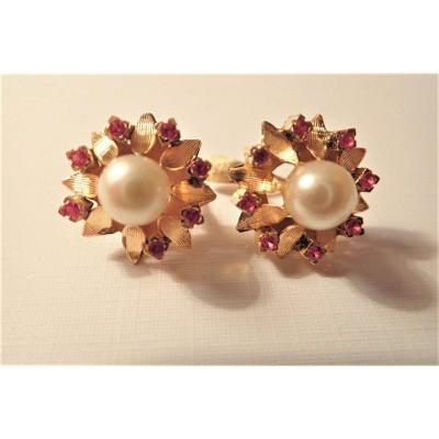Pair Of 18k Gold Pearl Earrings