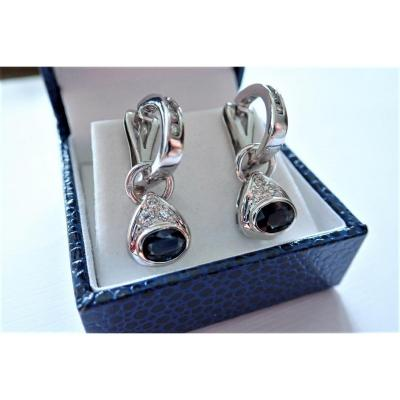 Pair Of White Gold Sapphires And Diamonds Earring
