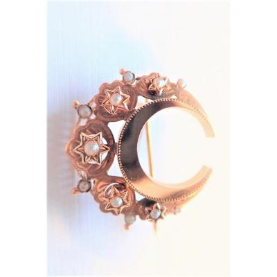 Napoleon III Brooch Rose Gold And Pearls