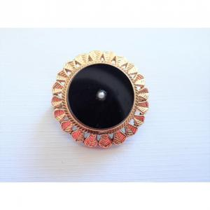 18k Gold Onyx And Pearl Pendant And Brooch