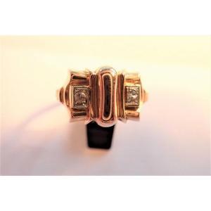Art Déco 18k Rose Gold Tank Ring