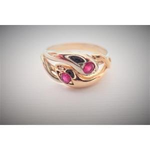 Bague Serpent Or Jaune Et Or Blanc 18 Carats Diamants