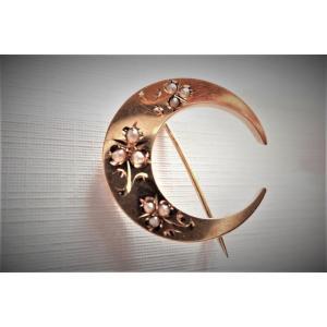 Broche Fin XIXème Perles Fines  Or Rose 18 Carats