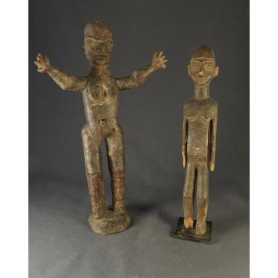 Deux Figure d'Ancêtres Lobi Pour Le Prix d'Une !
