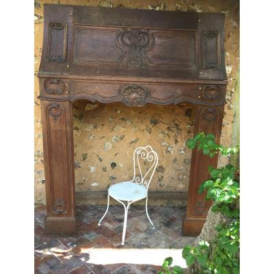 Large Regency Style Doucine Fireplace.
