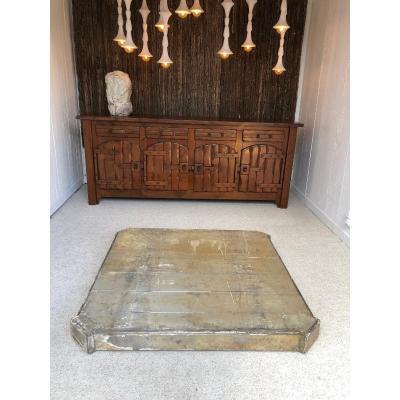 grand socle , piédestal , 19ième , en bois polychrome
