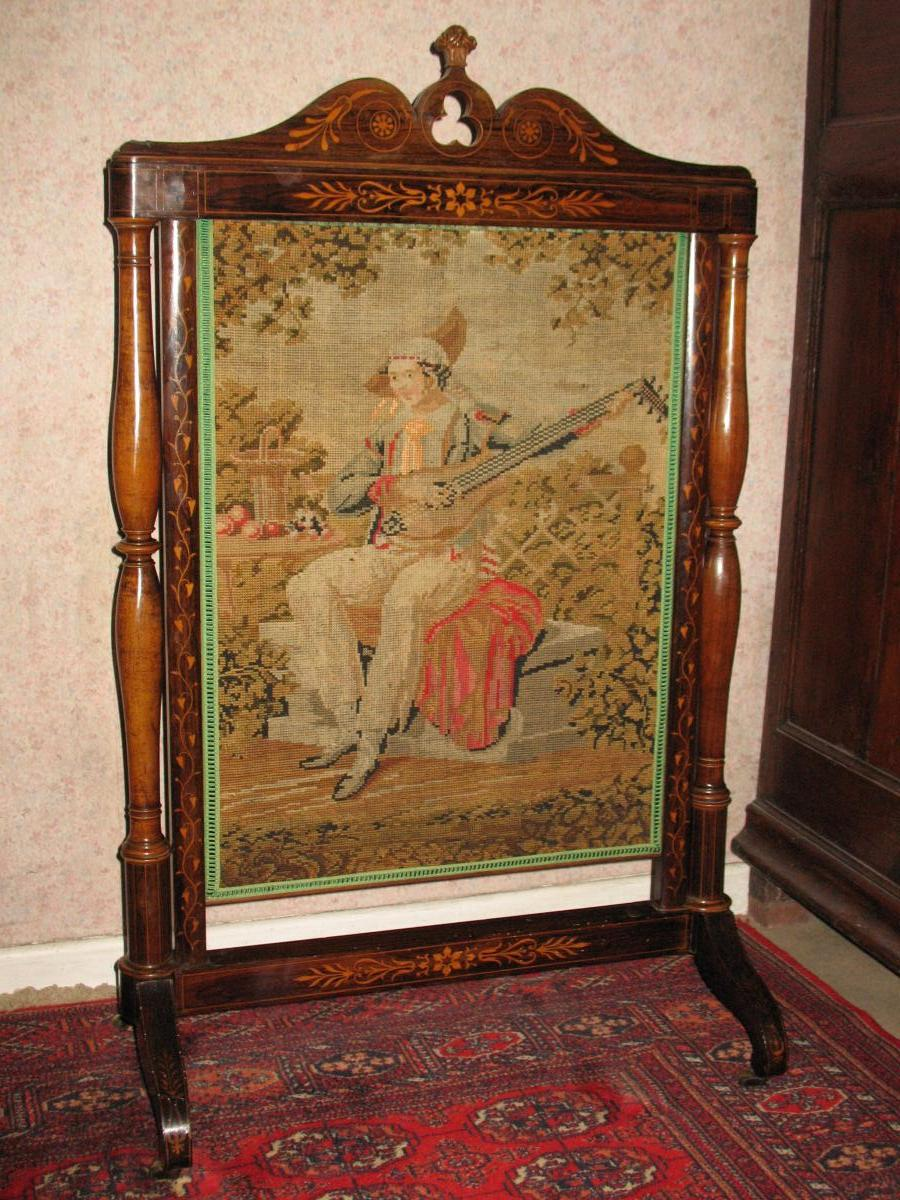 Nineteenth Firewall Charles X In Marquetry And Tapestry