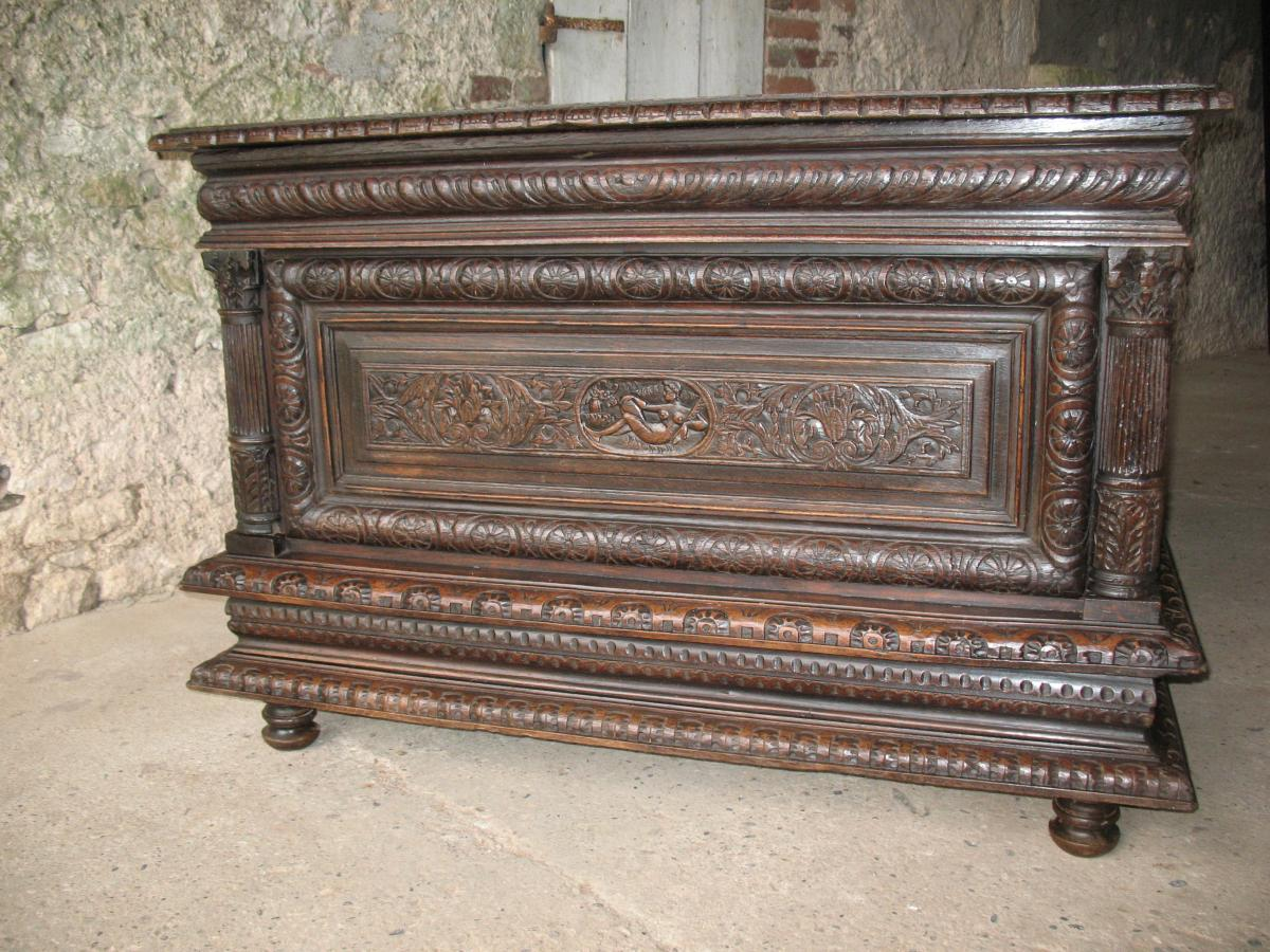 Norman Wedding Chest With Carved Panels Of The Seventeenth
