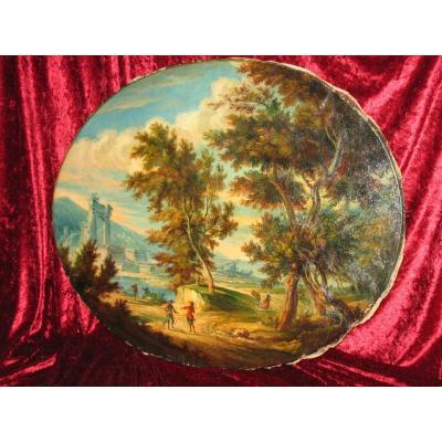 Animated Italian Landscape Oil On Canvas Oval Nineteenth