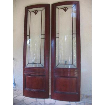 Pair Of Arched Doors Cuban Mahogany Massif High Glazed