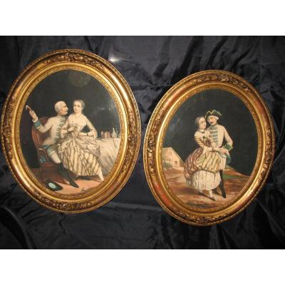 Pair Of Oval Frames Romantic Time