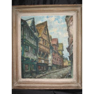 Oil On Panel Street Rouen Gaston Laborde
