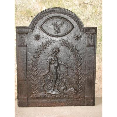 Fireplace Plate Eighteenth Time: Amphitrite On His Chariot Pulled By A Dolphin