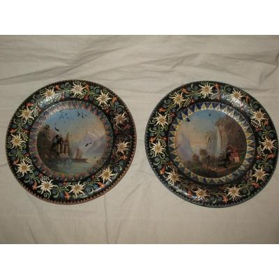 Pair Of Enamelled Dishes From Thun - Switzerland - Painted Views Hand In The Center Epoque Nineteenth
