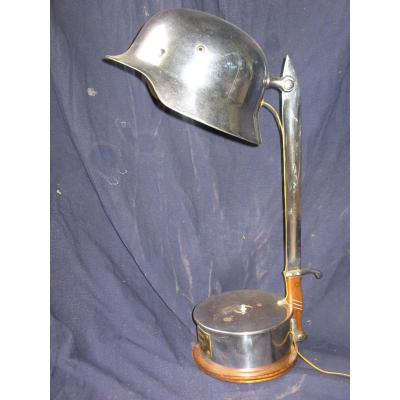 Desk Lamp With Helmet, German Weapon And Plate: General Puccinelli