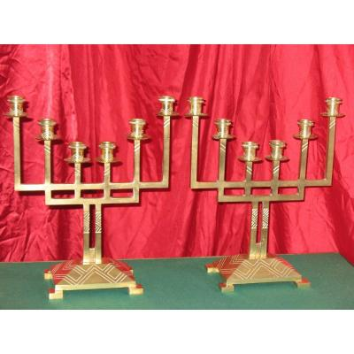 Pair Of Bronze Candlesticks Art Deco Period With 6 Branches