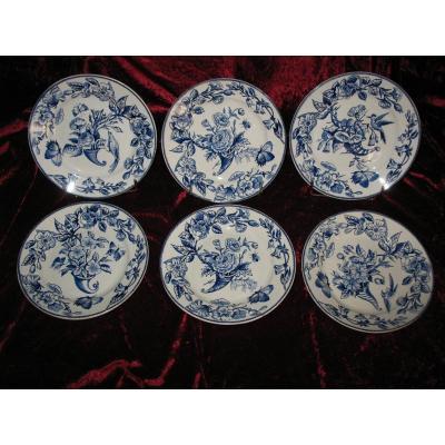 6 Dessert Plates Choisy Le Roi Decor From Rouen