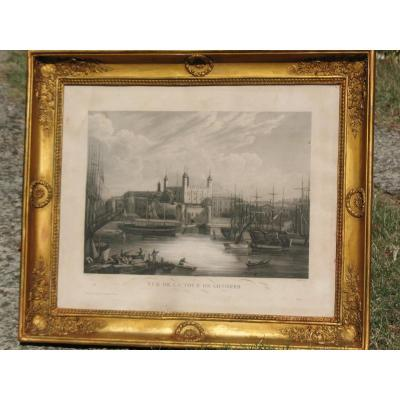 Golden Frame In The 19th Empire Style With Its Interior Engraving: View Of The Tower Of London