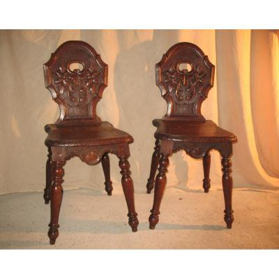 "Pair Of Alsatian Chairs In Oak ""escabelles"" 19th Time"