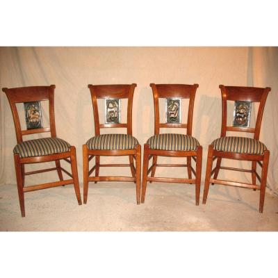 Suite Of 4 Directoire Chairs In Cherry Wood Decor With Animals From 4 Continents