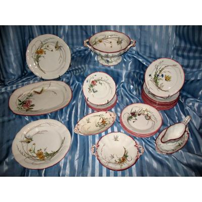 Sarreguemines Earthenware Table Service With Butterfly Decor