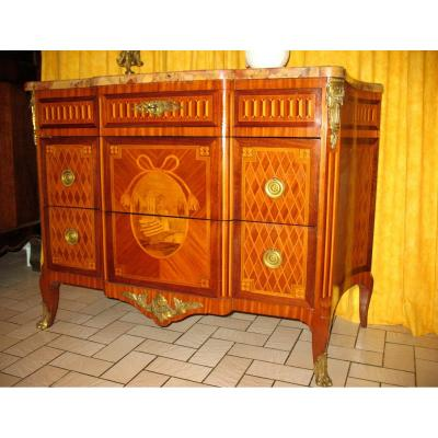 Commode With Projection And Curved Sides In Transition Style Marquetry Stamped Giblin