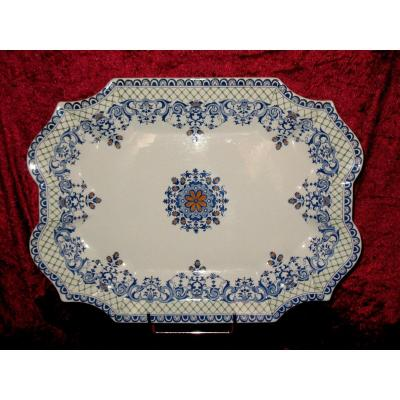 Large Presentation Dish In Gien Earthenware Decor From Rouen