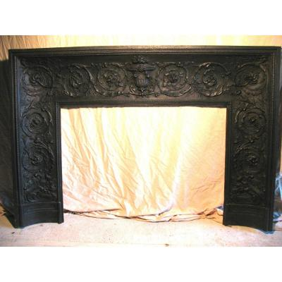 19th Century Cast Iron Fireplace In Louis XVI Style